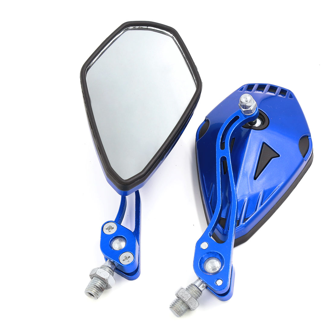 Blue Pentagon Shaped Adjustable Angle Motorcycle Side Rearview Mirrors 10mm Thread 2pcs