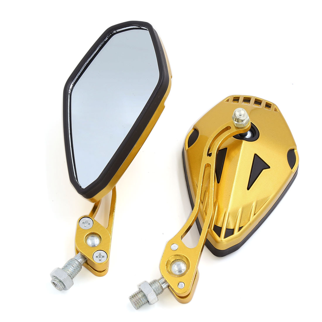 2pcs 10mm Thread Dia 360 Degree Adjustable Motorcycle Rearview Mirrors Gold Tone