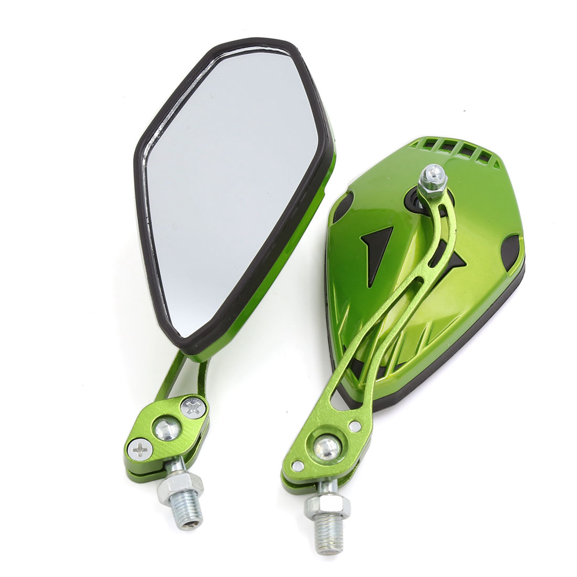 2 Pcs Universal 10mm Thread Dia Left Right Side Rear View Mirrors Green for Motorcycle
