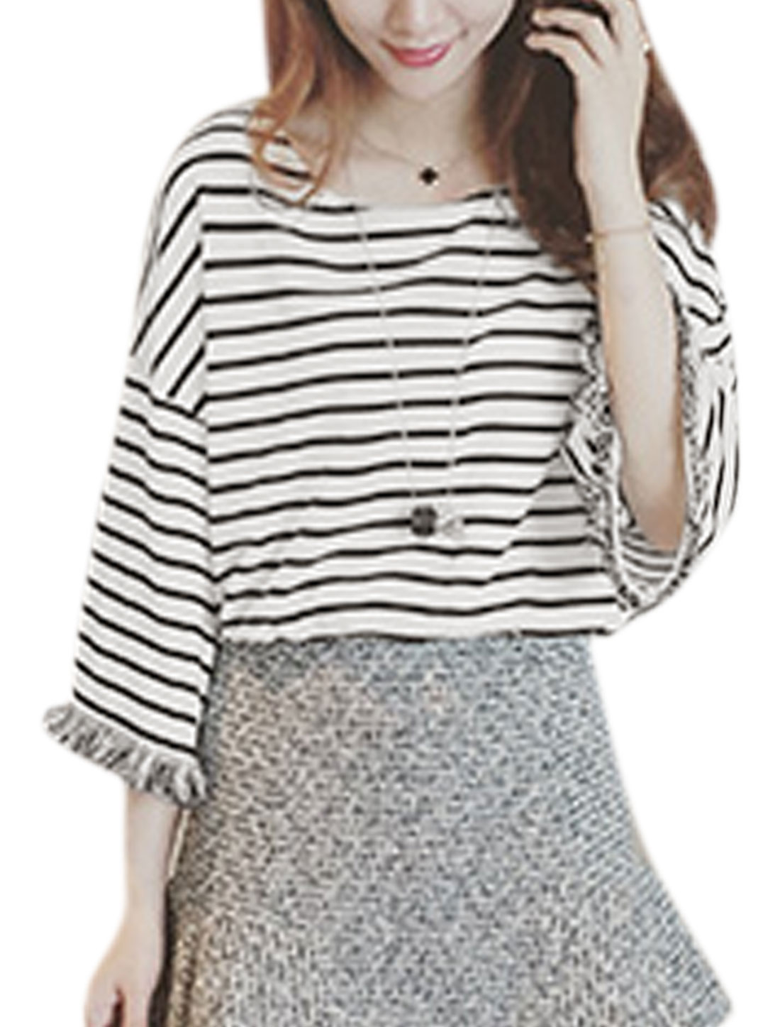 Women 3/4 Sleeve Drop Shoulder Stripes Loose Fit Tassels Top White M