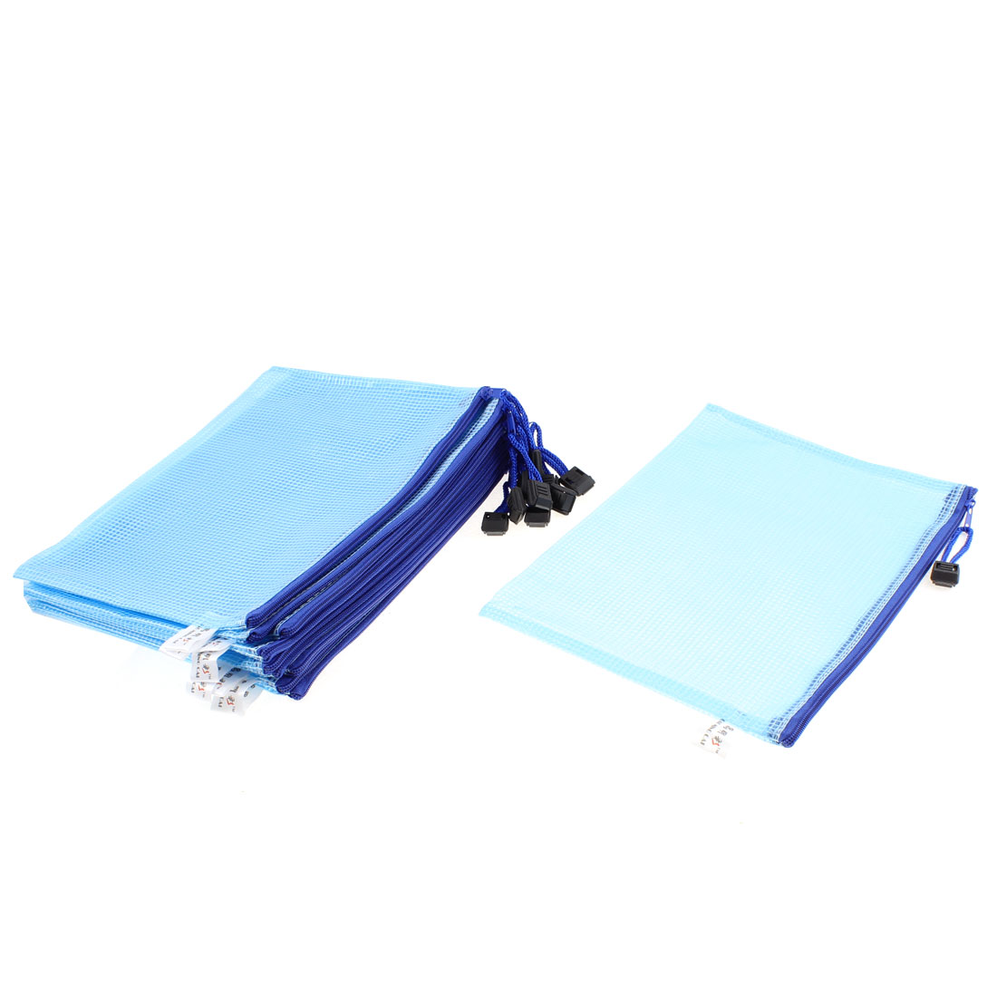 Office Stationery A5 Paper Document Clip File Bag Holder Organizer Blue 10 Pcs