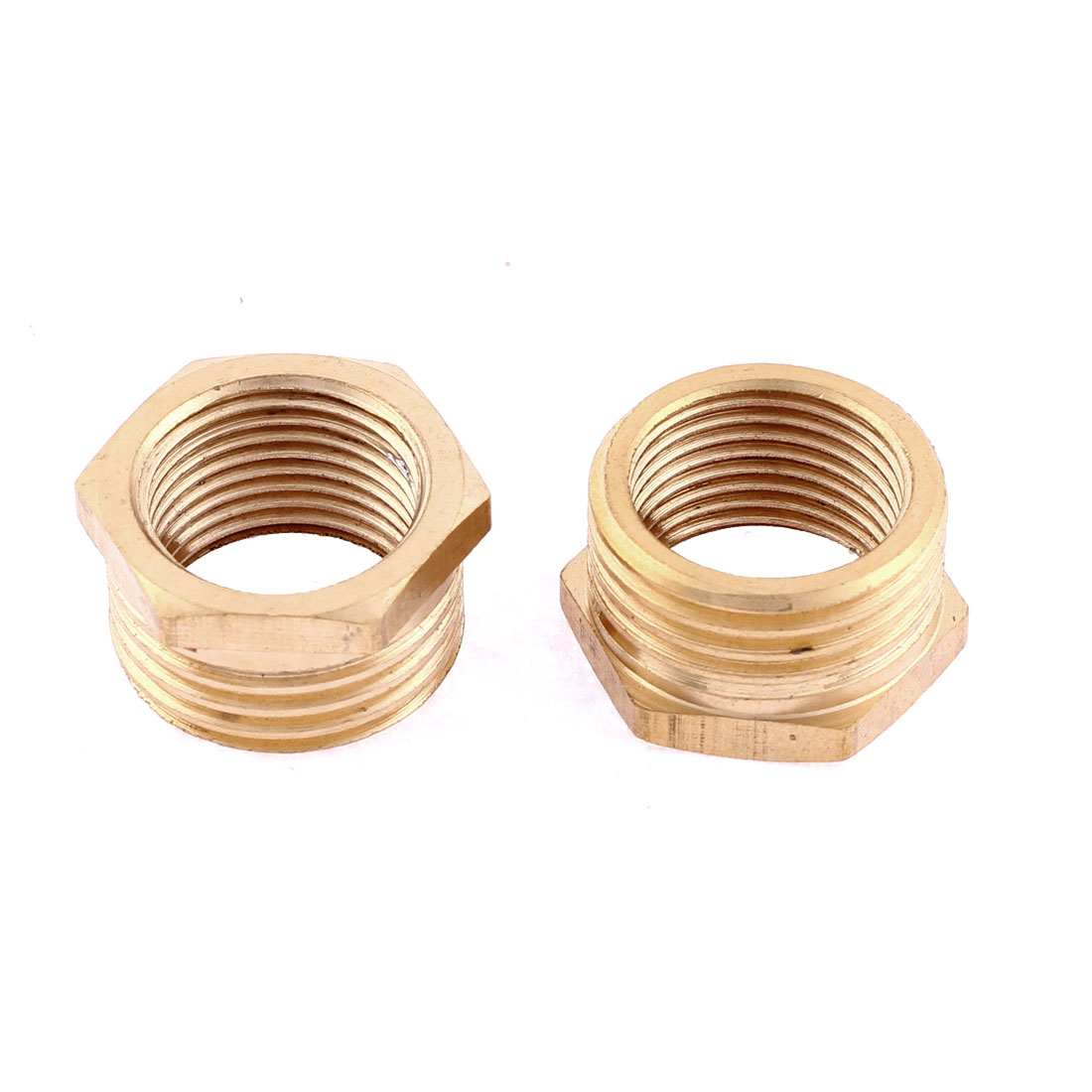1/2BSP Male 3/8BSP Female Thread Brass Hexagon Reducer Bushing Pipe Fitting Connector 2pcs
