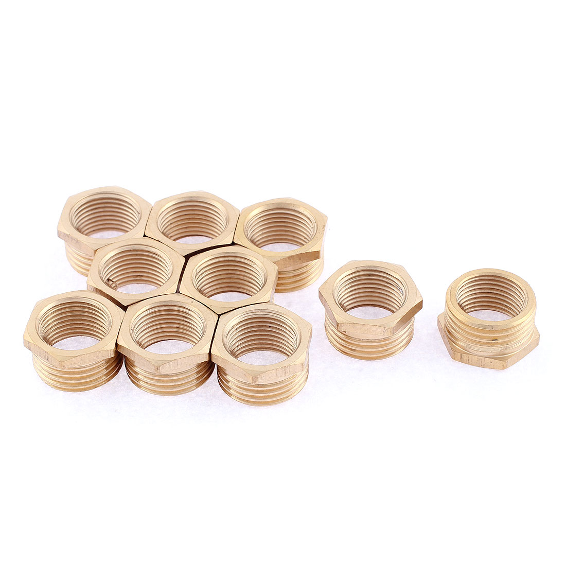 1/2BSP Male x 3/8BSP Female Thread Hex Reducer Bushing Pipe Fitting Connector 10pcs