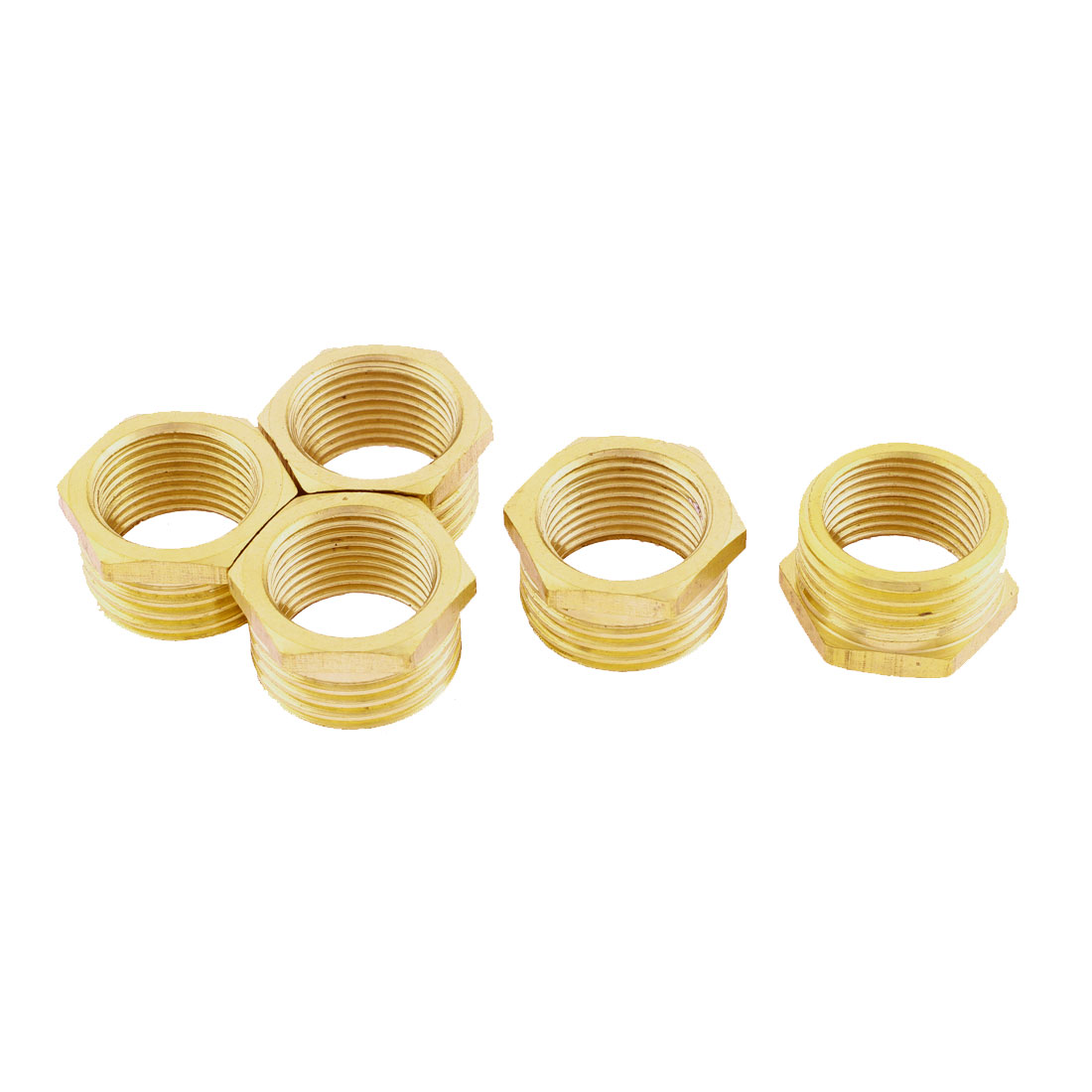 1/2BSP x 3/8BSP M/F Thread Hex Head Brass Bushing Piping Fitting Connector Adapter 5pcs
