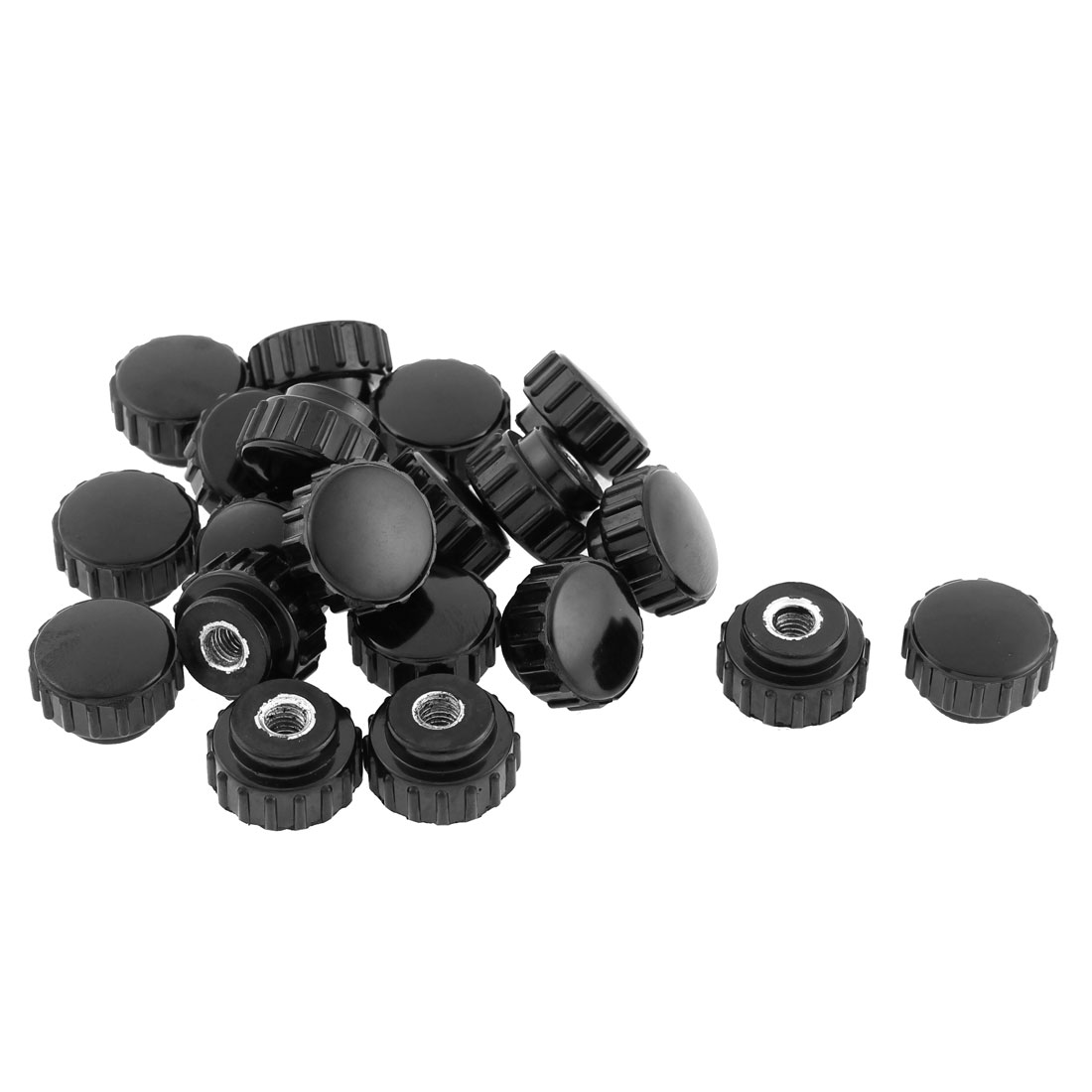 M6 x 22mm Female Thread Plastic Round Head Clamping Knob Jig Black 20pcs