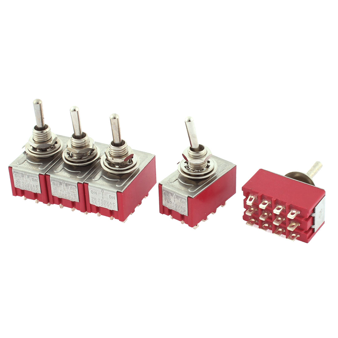 AC 250V 2A AC 120V 5A 4PDT ON-OFF-ON 12 Pins Latching Toggle Switch 5 Pcs