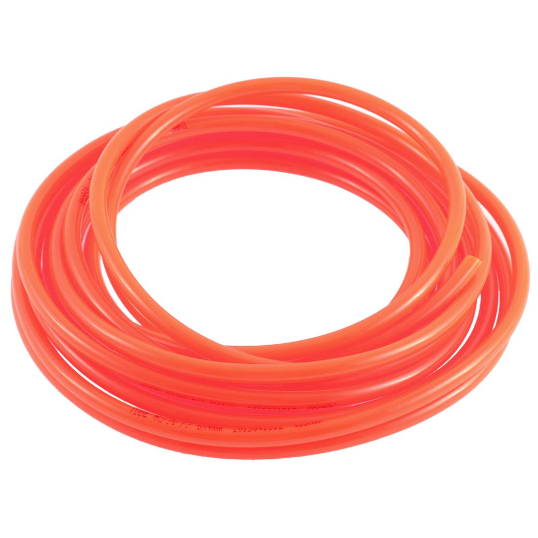 Air Compressor Pneumatic PU Hose Pipe Tube Orange Red 5 M 16.4Ft 6mm x 4mm
