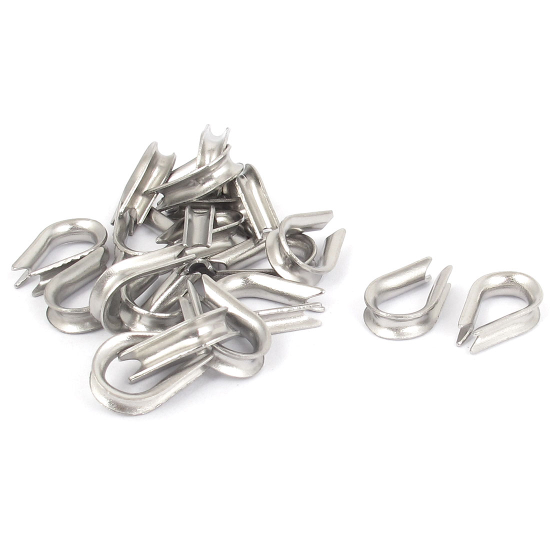 "304 Stainless Steel 2mm 5/64"" Wire Rope Cable Thimbles Silver Tone 20pcs"