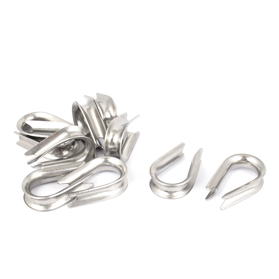 "304 Stainless Steel 5mm 3/16"" Wire Rope Cable Thimbles Silver Tone 10pcs"