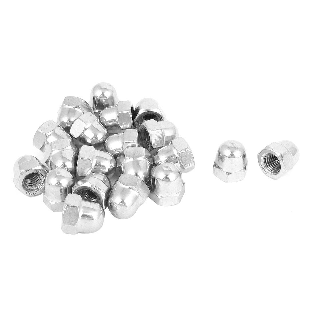 M8 Thread 304 Stainless Steel Acorn Hex Cap Nut Silver Tone 20Pcs