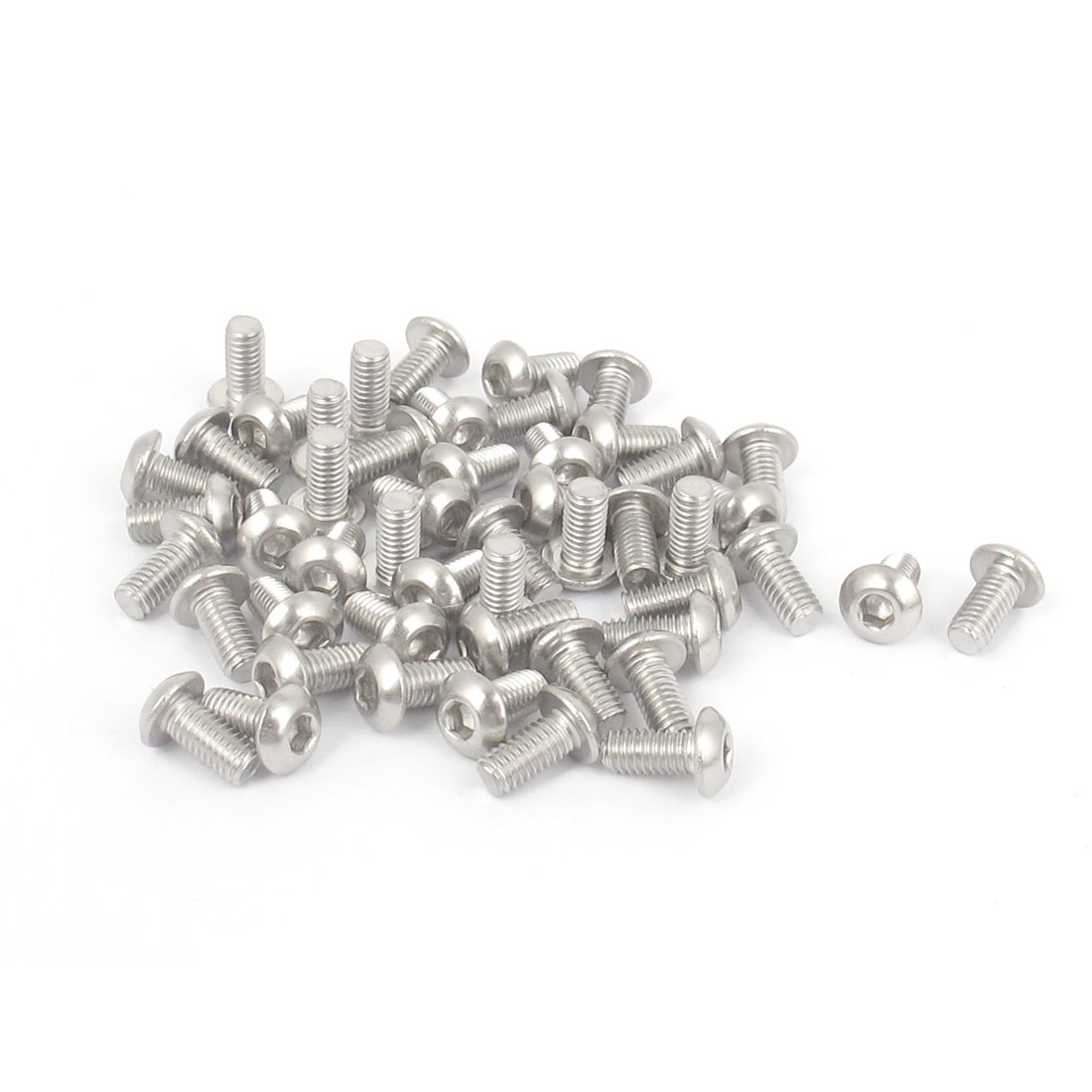 M3 x 6mm 304 Stainless Steel Hex Socket Machine Countersunk Round Head Screw Bolts 50PCS