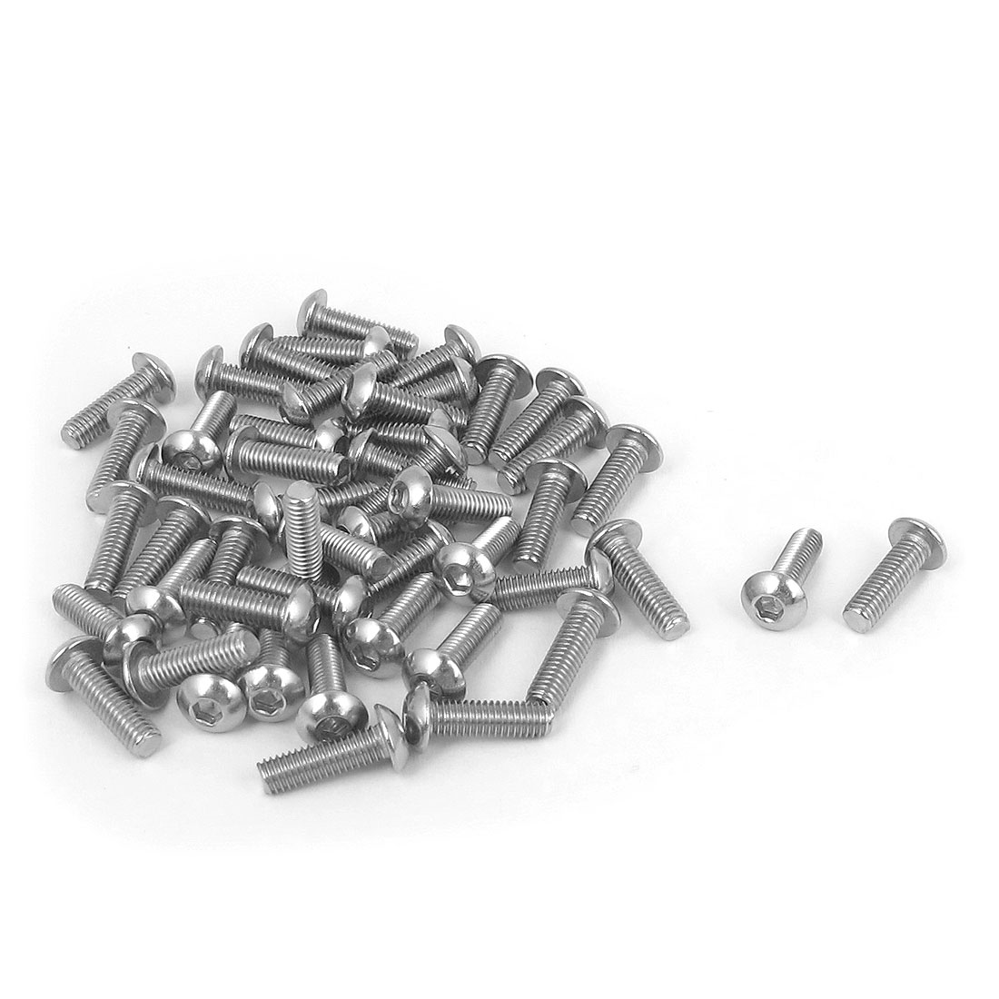 M3 x 10mm 304 Stainless Steel Hex Socket Machine Countersunk Round Head Screw Bolts 50PCS