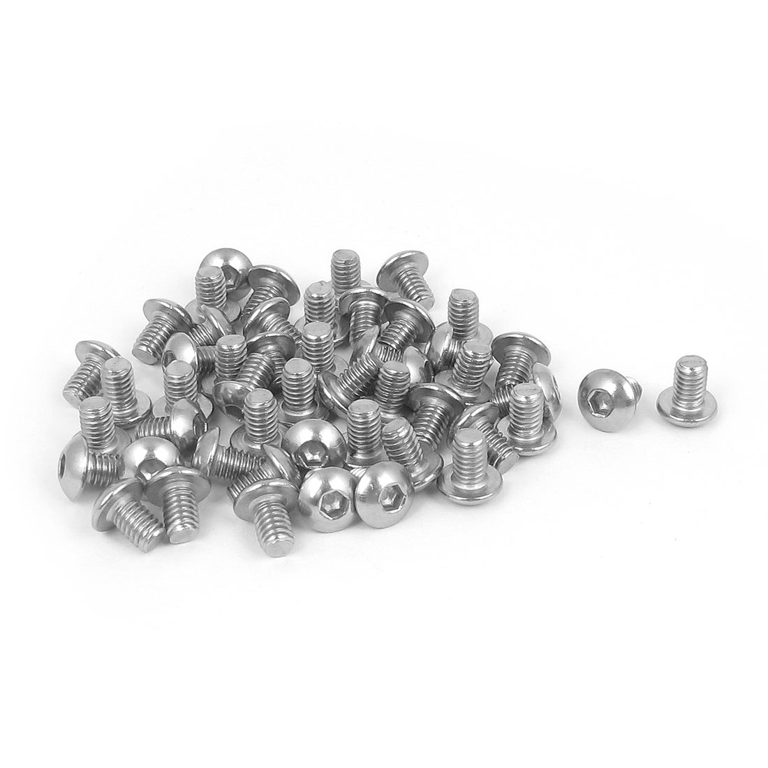 M4x6mm 304 Stainless Steel Hex Socket Machine Countersunk Round Head Screw Bolts 50PCS