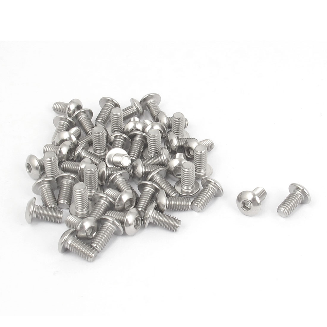 M4x8mm 304 Stainless Steel Hex Socket Machine Countersunk Round Head Screw Bolts 50PCS