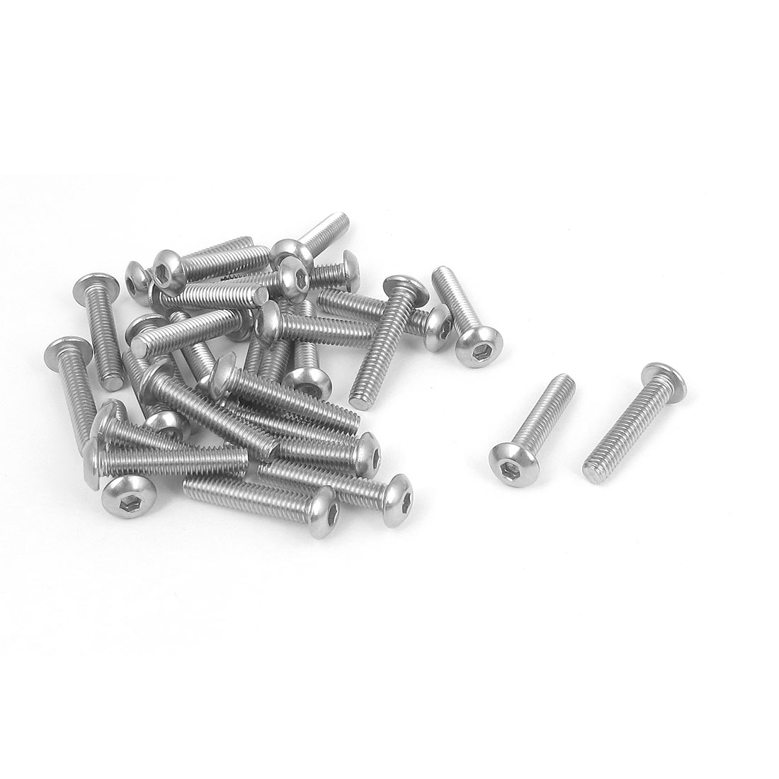 M4x20mm 304 Stainless Steel Hex Socket Machine Countersunk Round Head Screw Bolts 30PCS