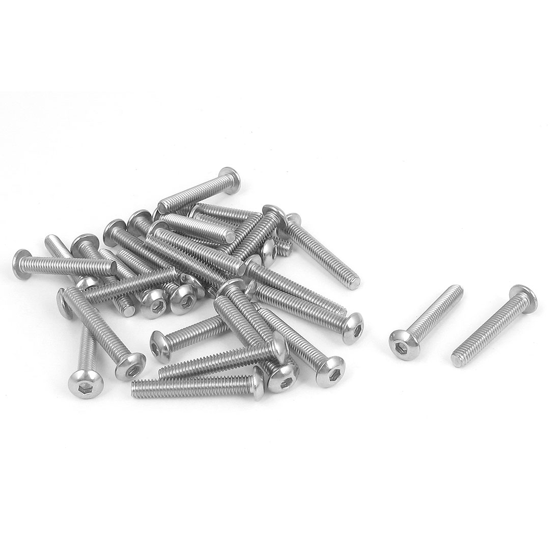 M4x25mm 304 Stainless Steel Hex Socket Machine Countersunk Round Head Screw Bolts 30PCS