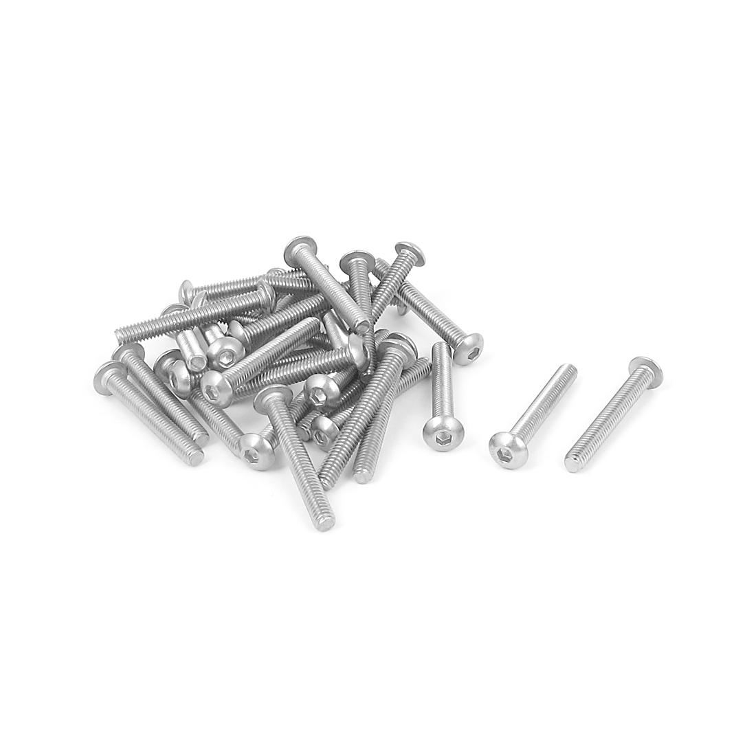 M4x30mm 304 Stainless Steel Hex Socket Machine Countersunk Round Head Screw Bolts 30PCS