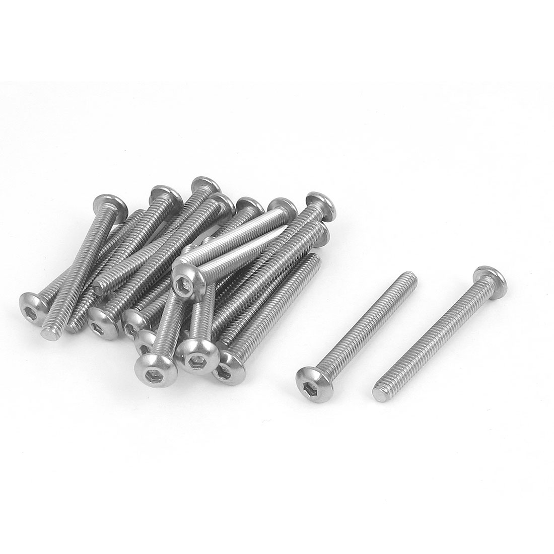 M4x35mm 304 Stainless Steel Hex Socket Machine Countersunk Round Head Screw Bolts 20PCS