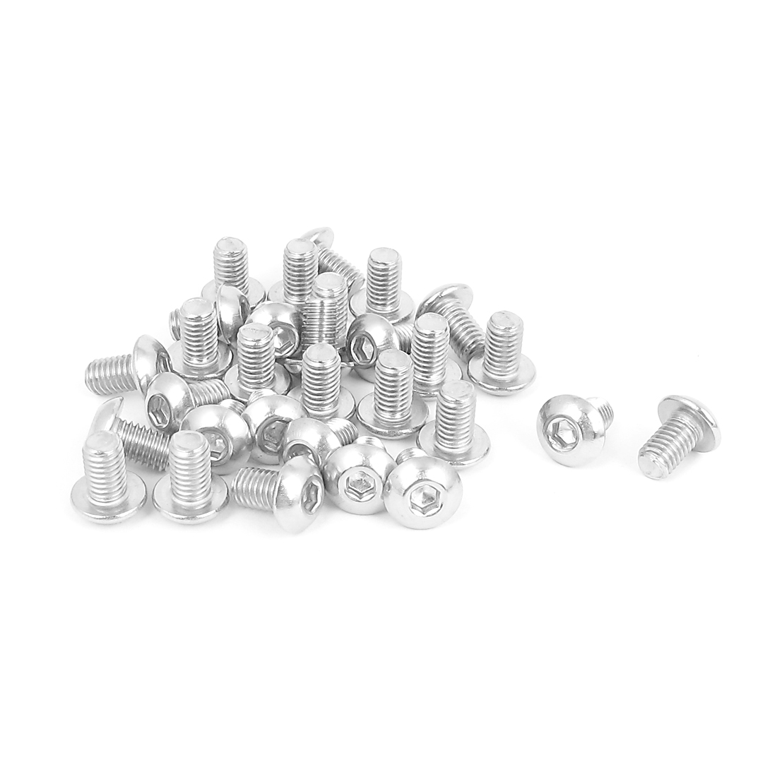 M5x8mm 304 Stainless Steel Hex Socket Machine Countersunk Round Head Screw Bolts 30PCS
