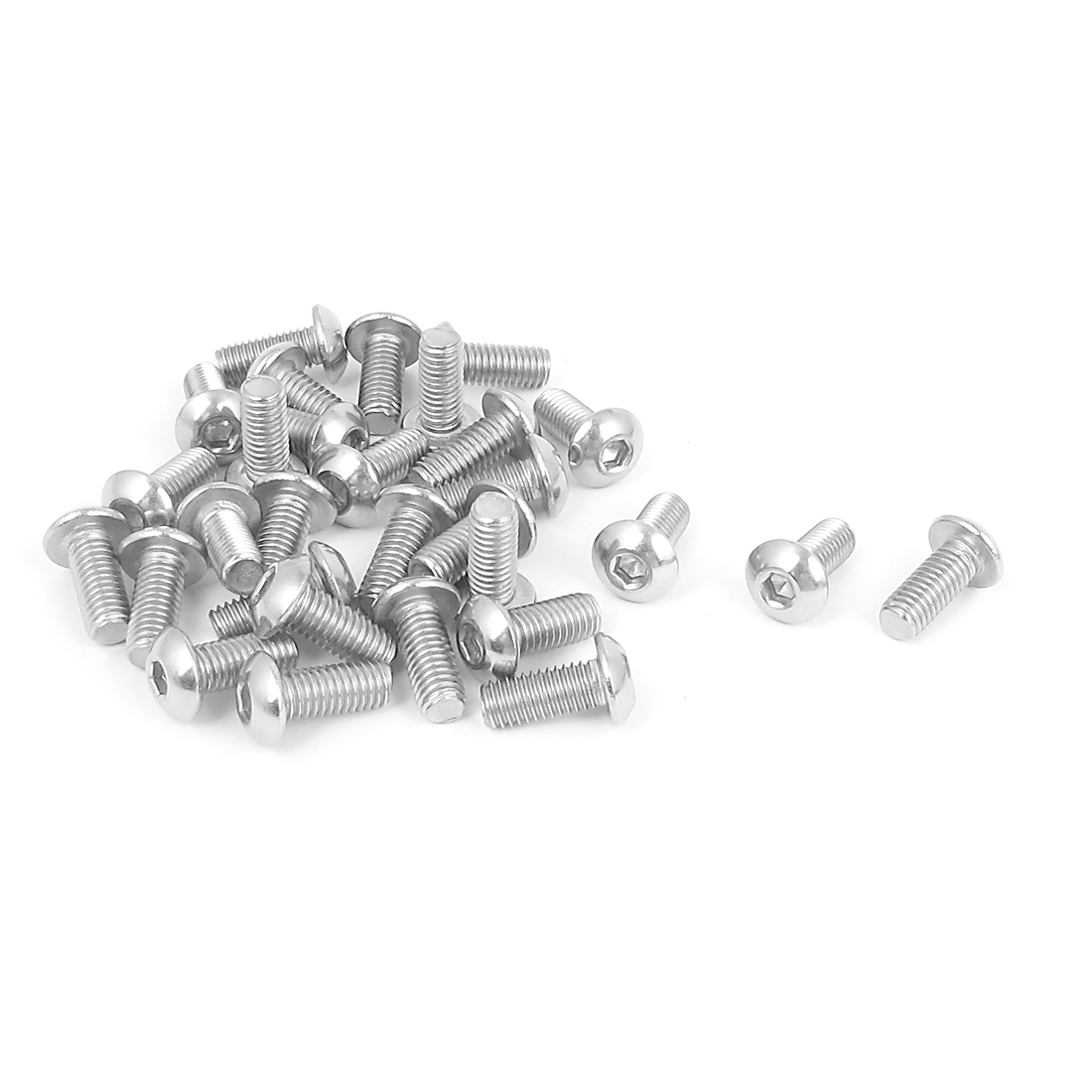 M5x12mm 304 Stainless Steel Hex Socket Machine Countersunk Round Head Screw Bolts 30PCS