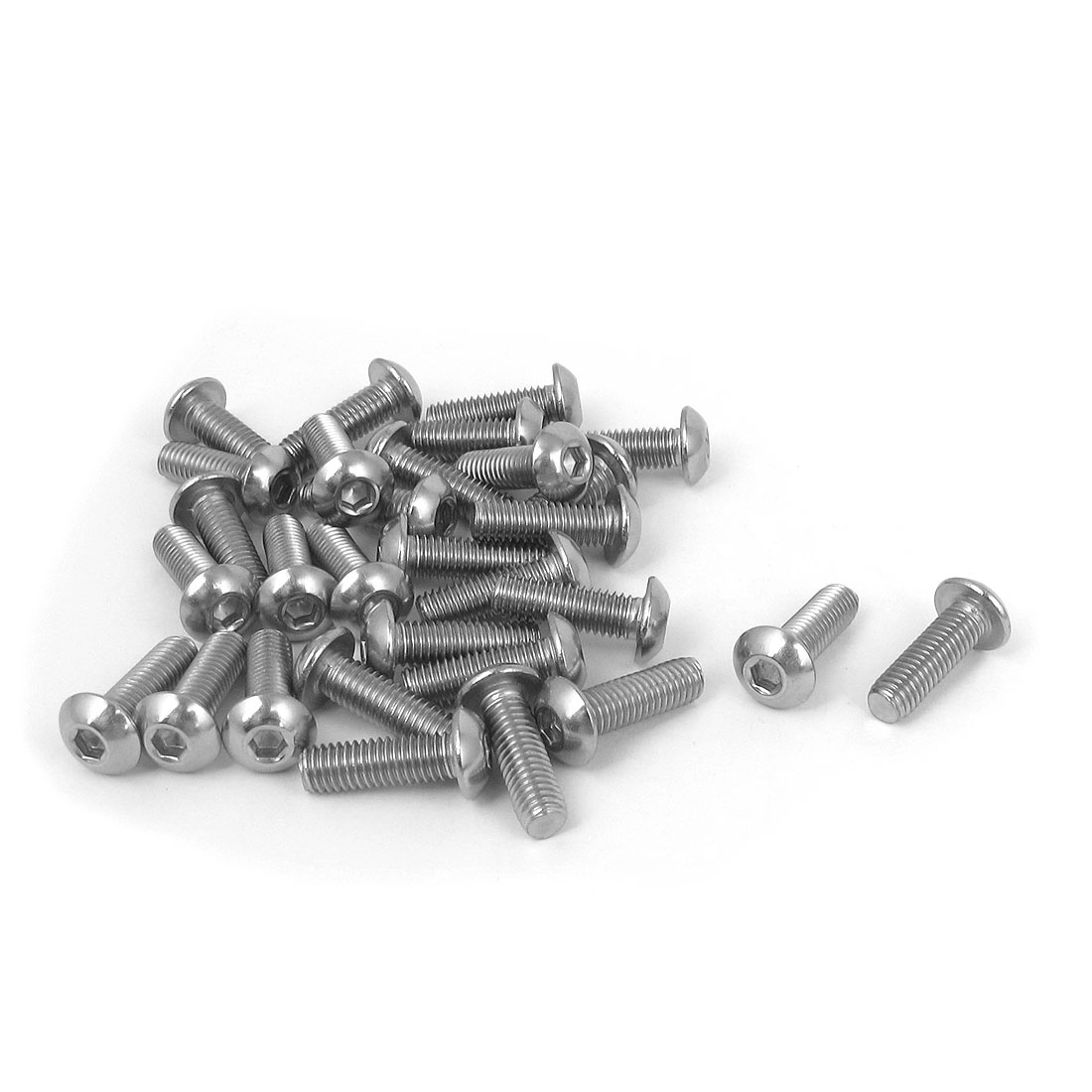 M5x16mm 304 Stainless Steel Hex Socket Machine Countersunk Round Head Screw Bolts 30PCS