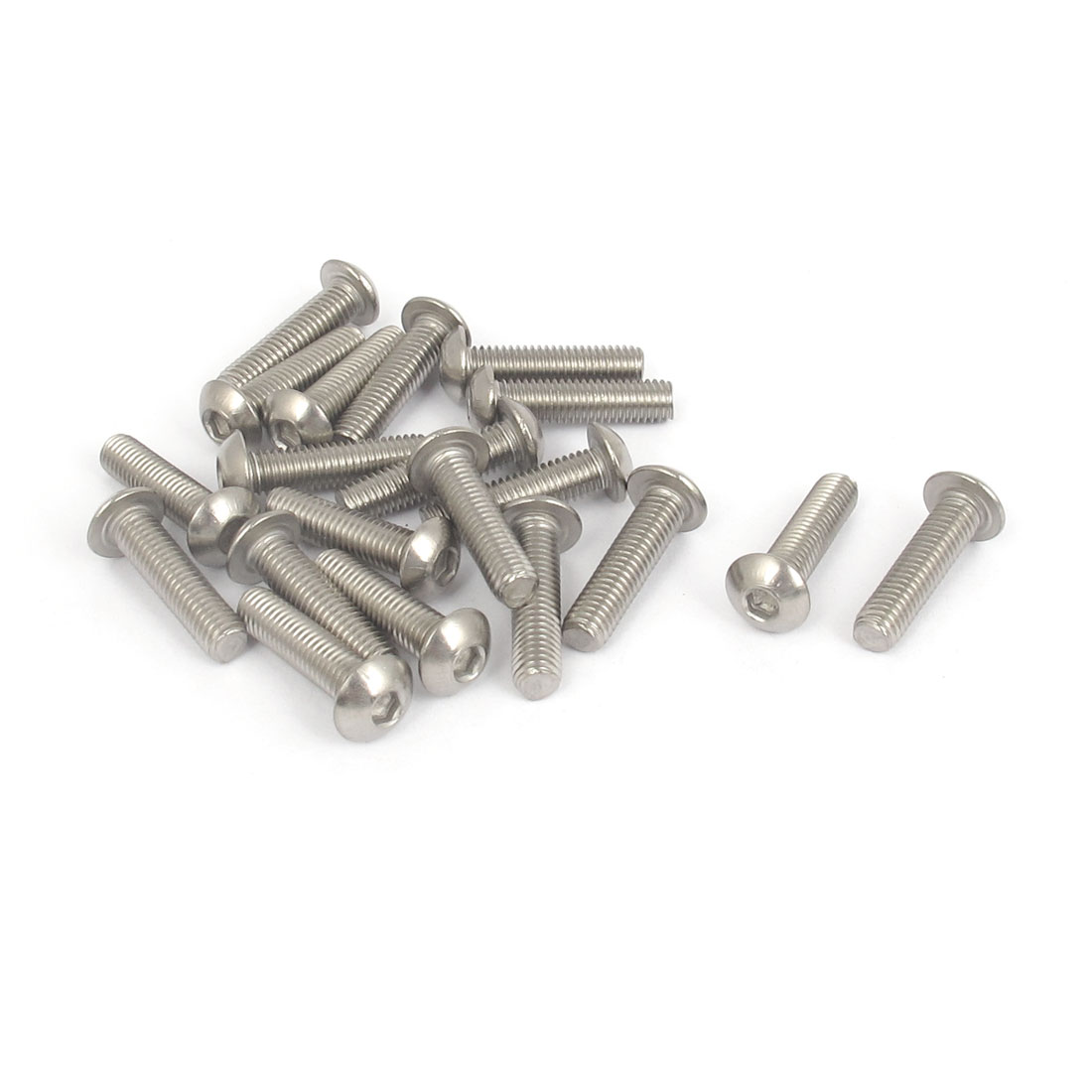M5x20mm 304 Stainless Steel Hex Socket Machine Countersunk Round Head Screw Bolts 20PCS