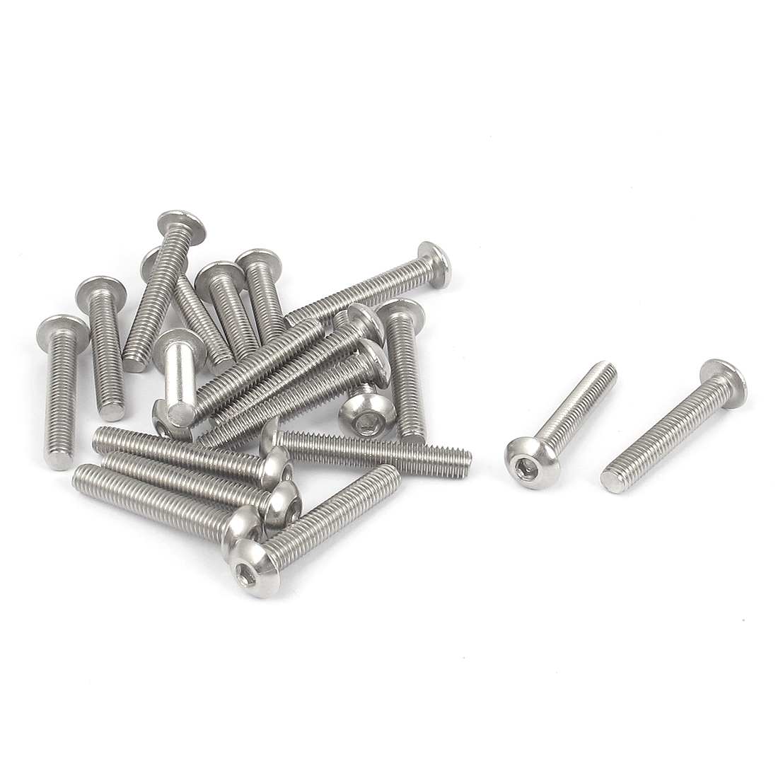 M5x30mm 304 Stainless Steel Hex Socket Machine Countersunk Round Head Screw Bolts 20PCS