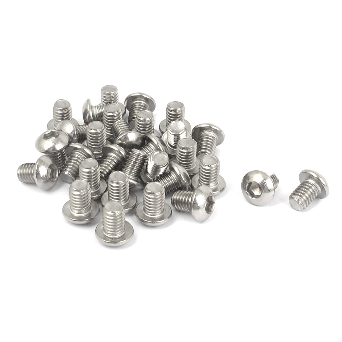 M6x8mm 304 Stainless Steel Hex Socket Machine Countersunk Round Head Screw Bolts 30PCS