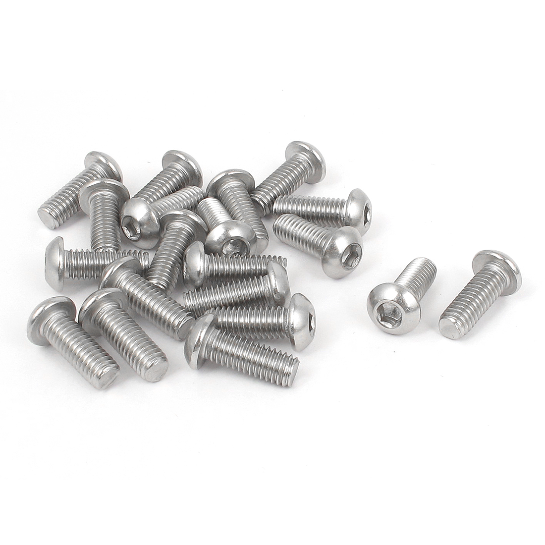 M6x16mm 304 Stainless Steel Hex Socket Machine Countersunk Round Head Screw Bolts 20PCS