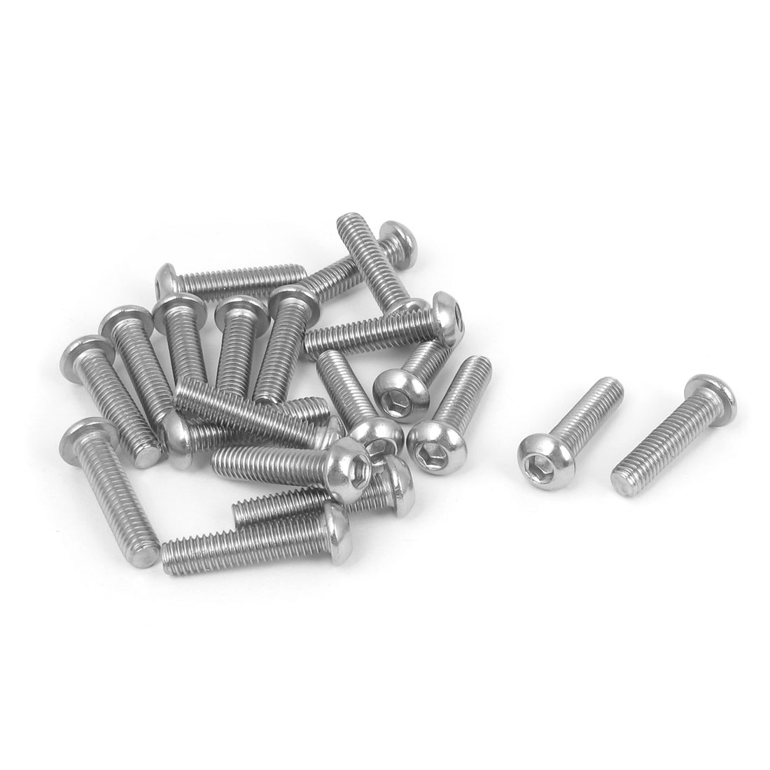 M6x25mm 304 Stainless Steel Hex Socket Machine Countersunk Round Head Screw Bolts 20PCS