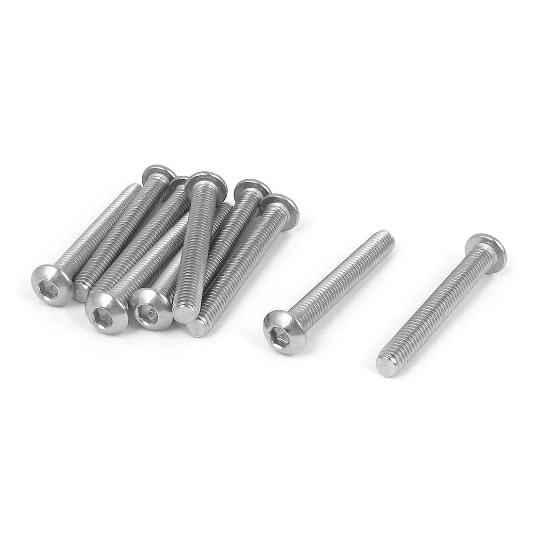M6x45mm 304 Stainless Steel Hex Socket Machine Countersunk Round Head Screw Bolts 10PCS