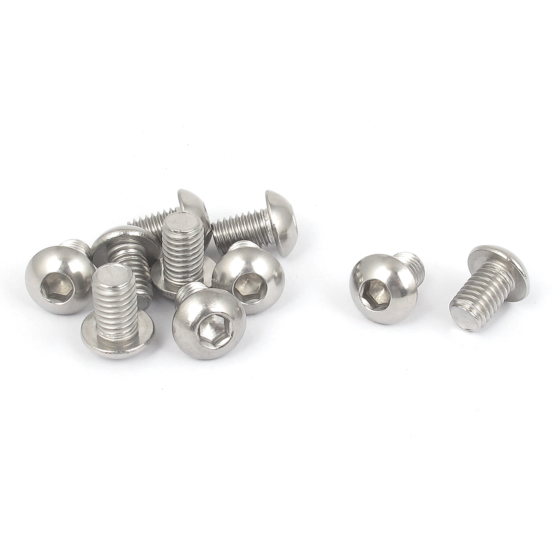 M8x12mm 304 Stainless Steel Hex Socket Machine Round Head Screw Bolts 10PCS