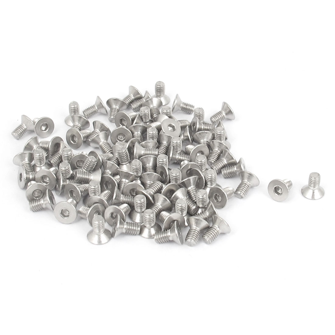 M3 x 6mm Metric 304 Stainless Steel Hex Socket Countersunk Flat Head Screw Bolts 100PCS