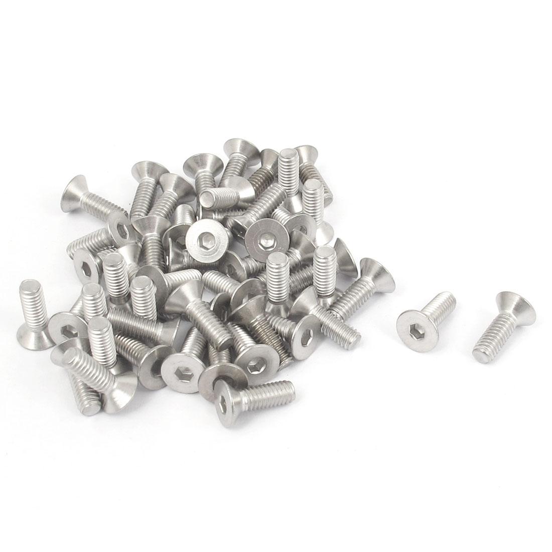M4 x 12mm Metric 304 Stainless Steel Hex Socket Countersunk Flat Head Screw Bolts 50PCS