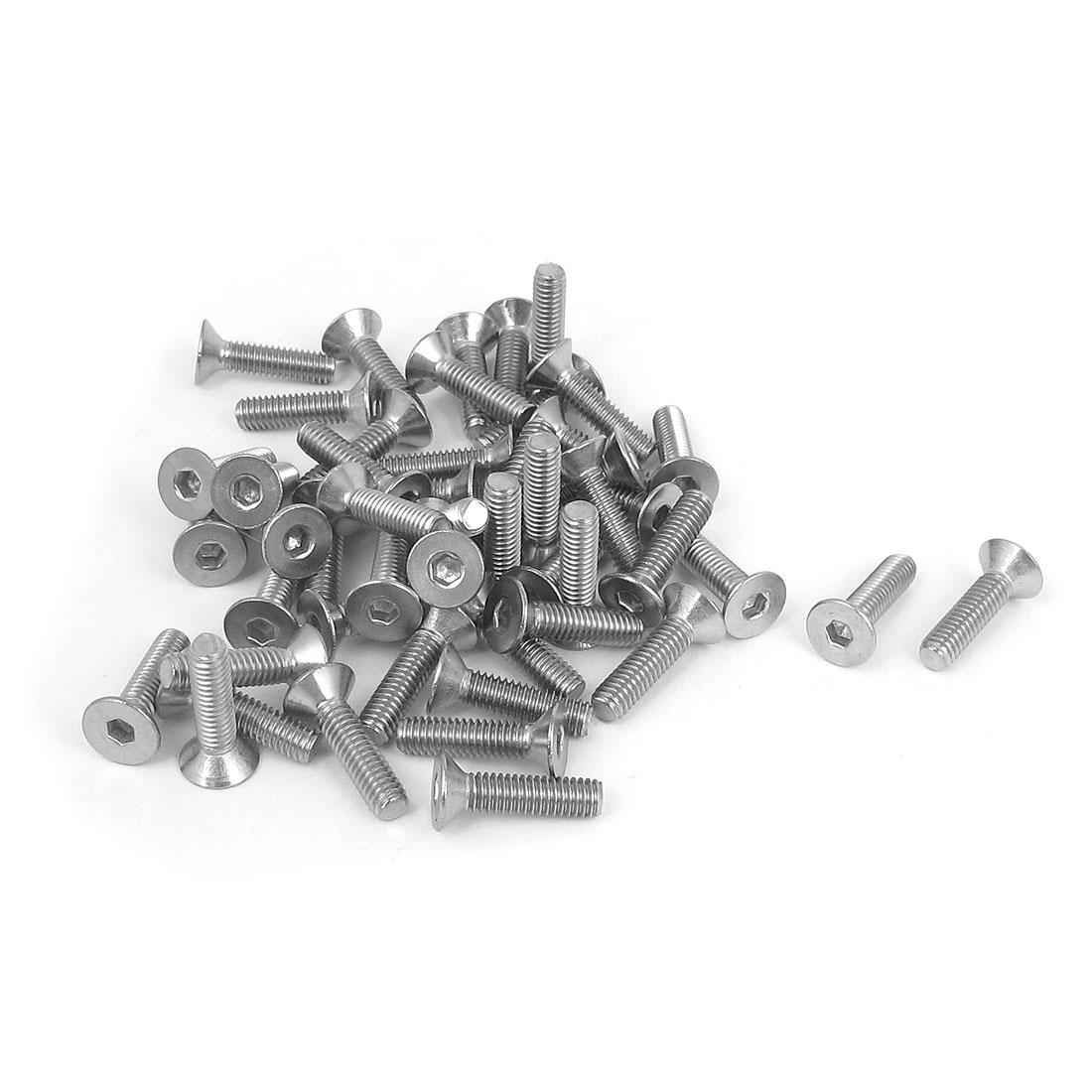 M4 x 16mm Metric 304 Stainless Steel Hex Socket Countersunk Flat Head Screw Bolts 50PCS