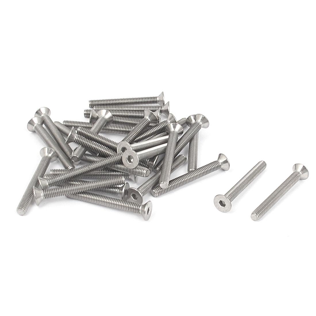 M4 x 35mm Metric 304 Stainless Steel Hex Socket Countersunk Flat Head Screw Bolts 30PCS