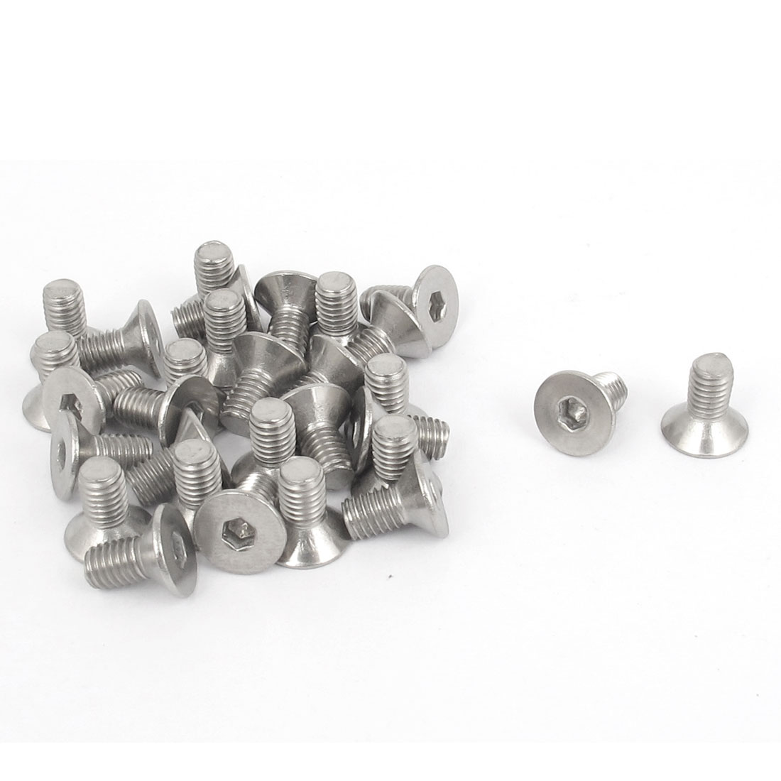 M5 x 10mm Metric 304 Stainless Steel Hex Socket Countersunk Flat Head Screw Bolts 30PCS