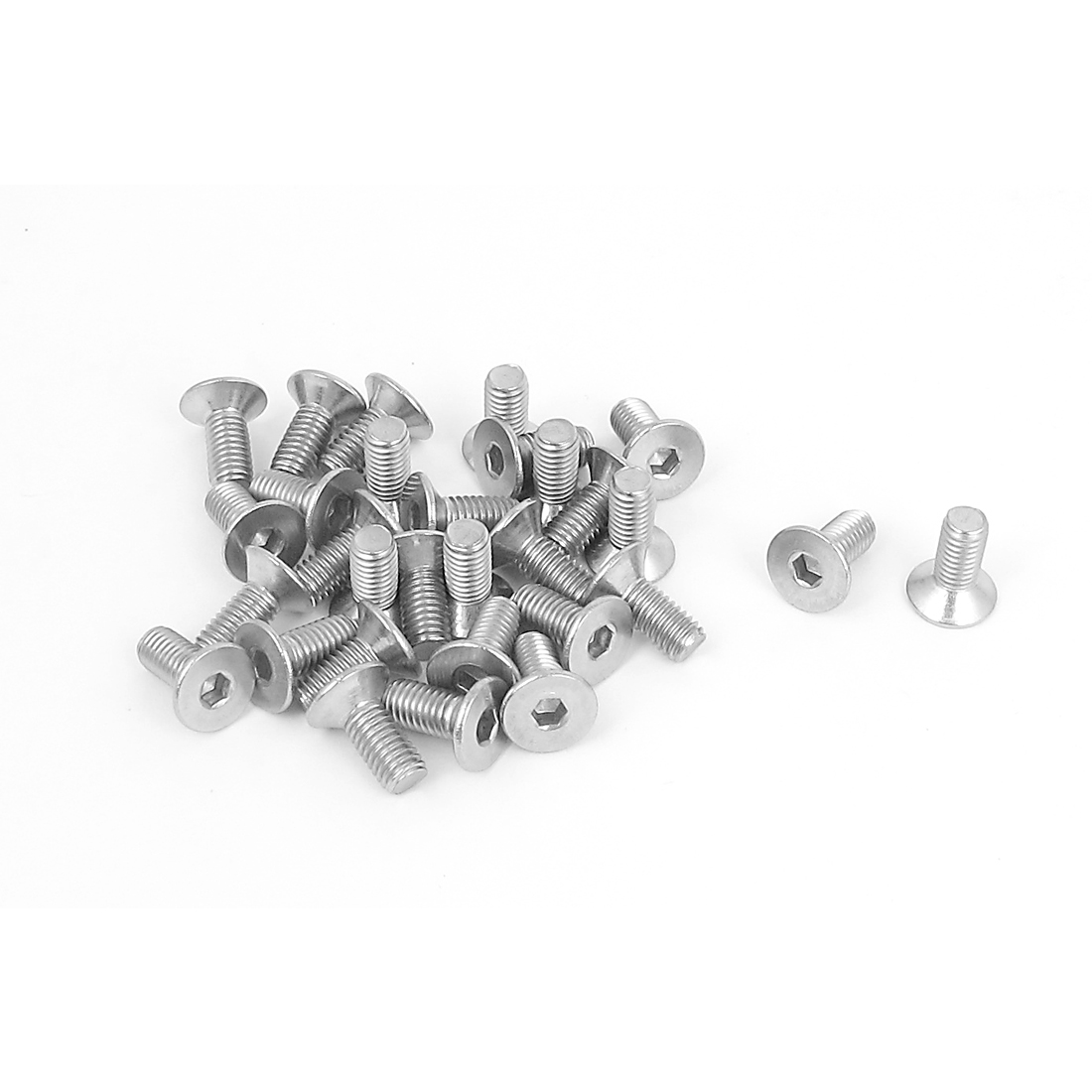 M5 x 12mm Metric 304 Stainless Steel Hex Socket Countersunk Flat Head Screw Bolts 30PCS