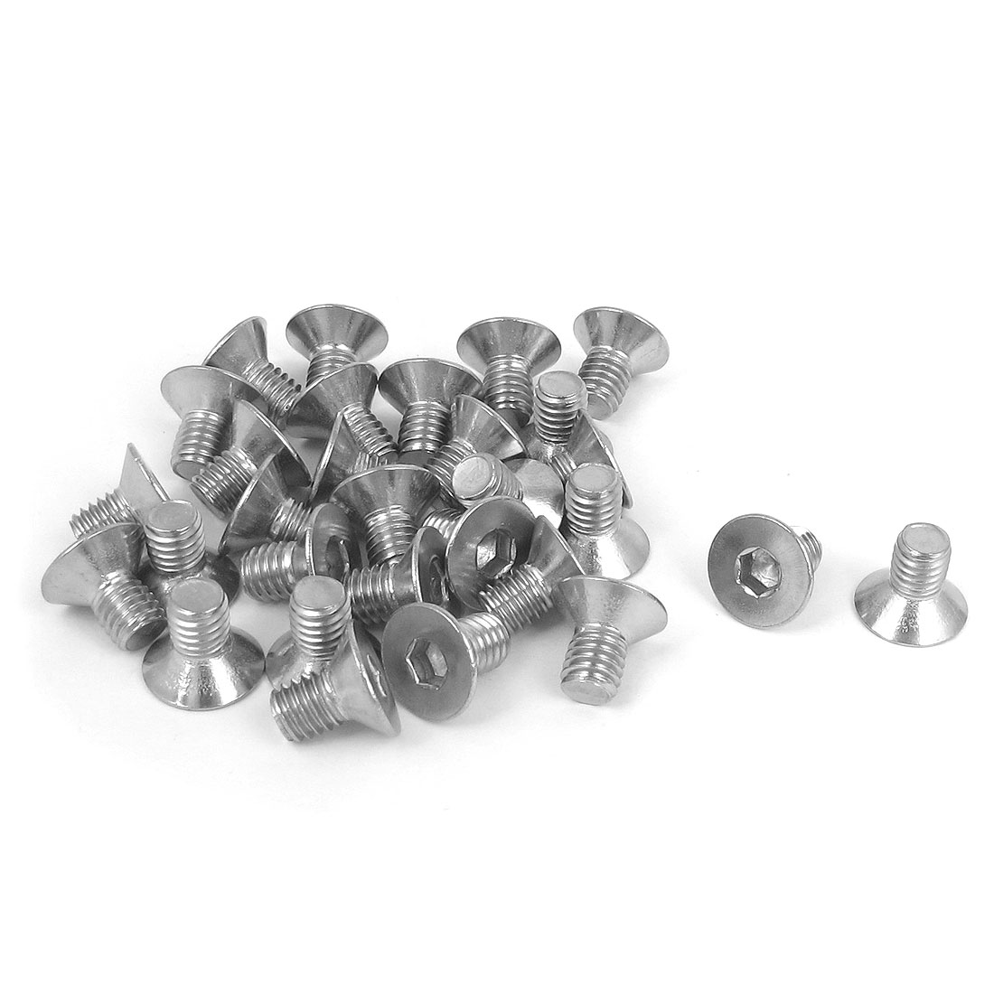 M6 x 10mm Metric 304 Stainless Steel Hex Socket Countersunk Flat Head Screw Bolts 30PCS