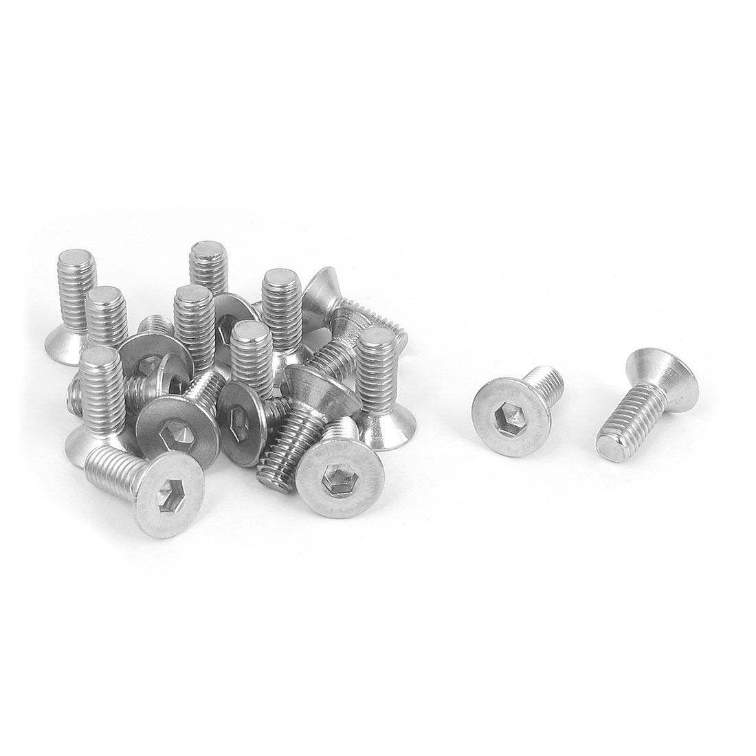 M6 x 16mm Metric 304 Stainless Steel Hex Socket Countersunk Flat Head Screw Bolts 20PCS