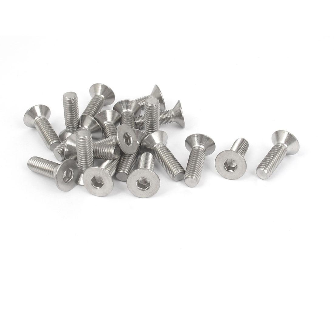 M6 x 20mm Metric 304 Stainless Steel Hex Socket Countersunk Flat Head Screw Bolts 20PCS