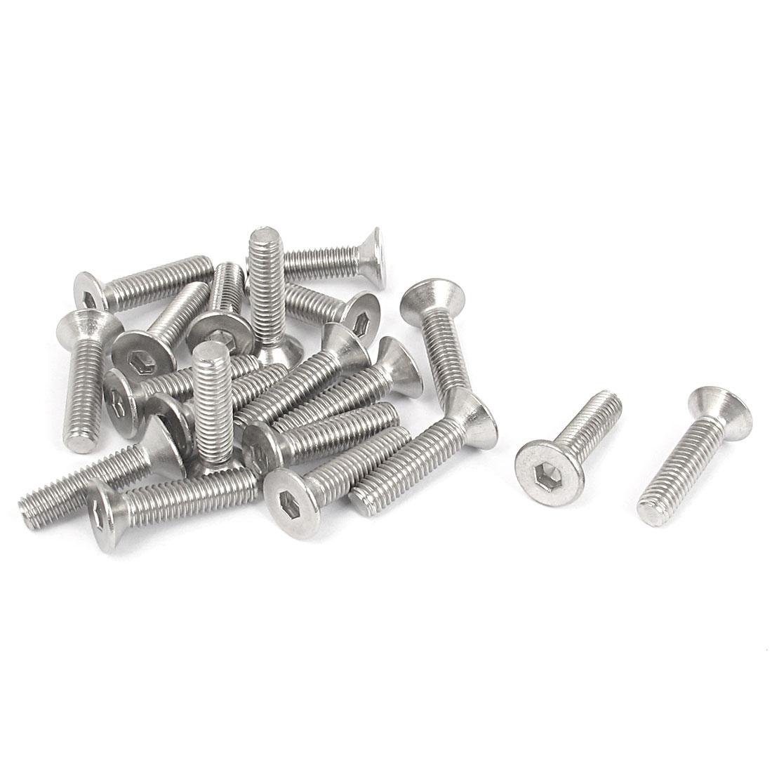M6 x 25mm Metric 304 Stainless Steel Hex Socket Countersunk Flat Head Screw Bolts 20PCS