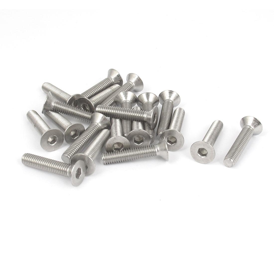 M6 x 30mm Metric 304 Stainless Steel Hex Socket Countersunk Flat Head Screw Bolts 20PCS