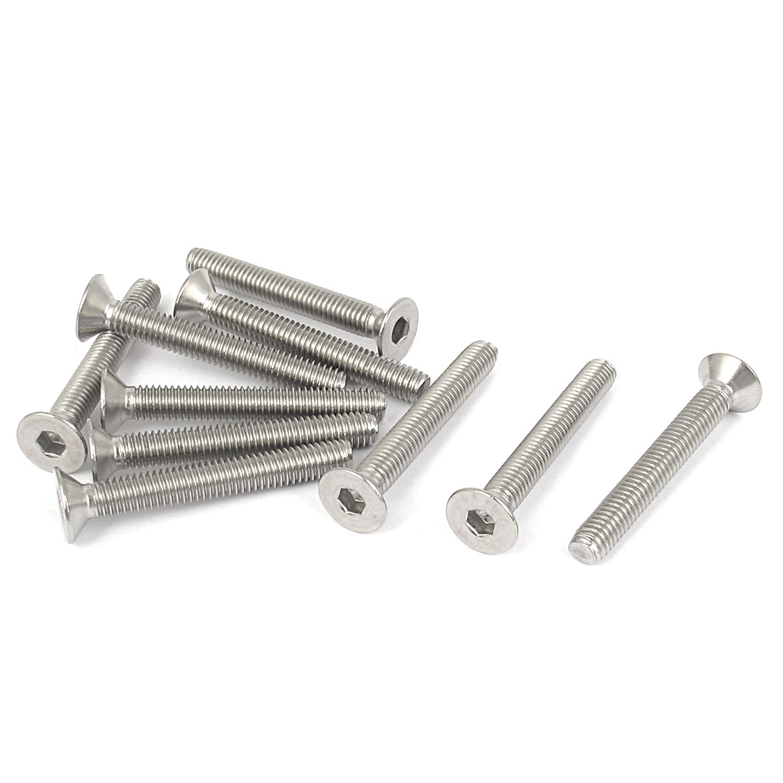 M6 x 45mm Metric 304 Stainless Steel Hex Socket Countersunk Flat Head Screw Bolts 10PCS