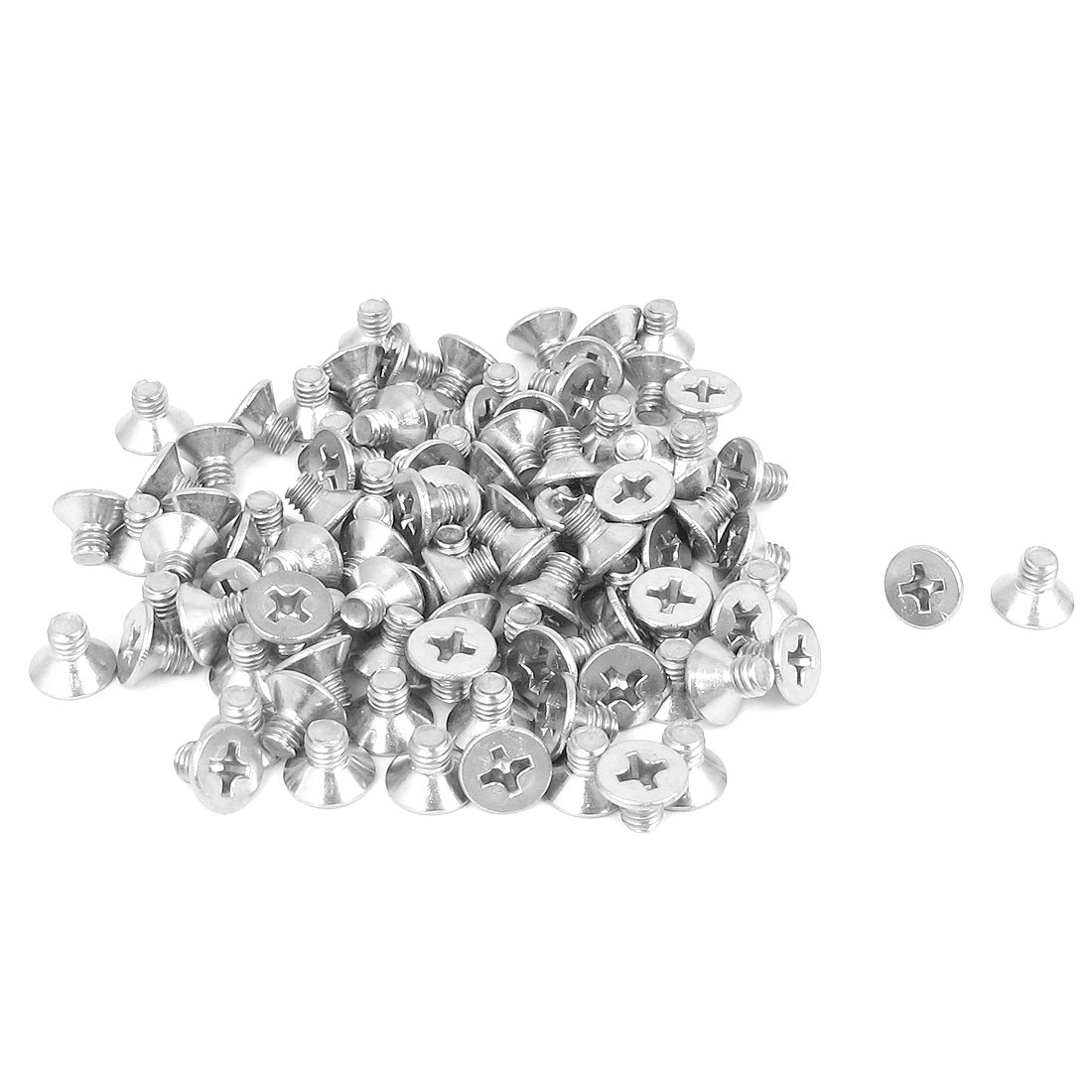 M4 x 6mm Metric Phillips Flat Head Countersunk Bolts Machine Screws 100pcs