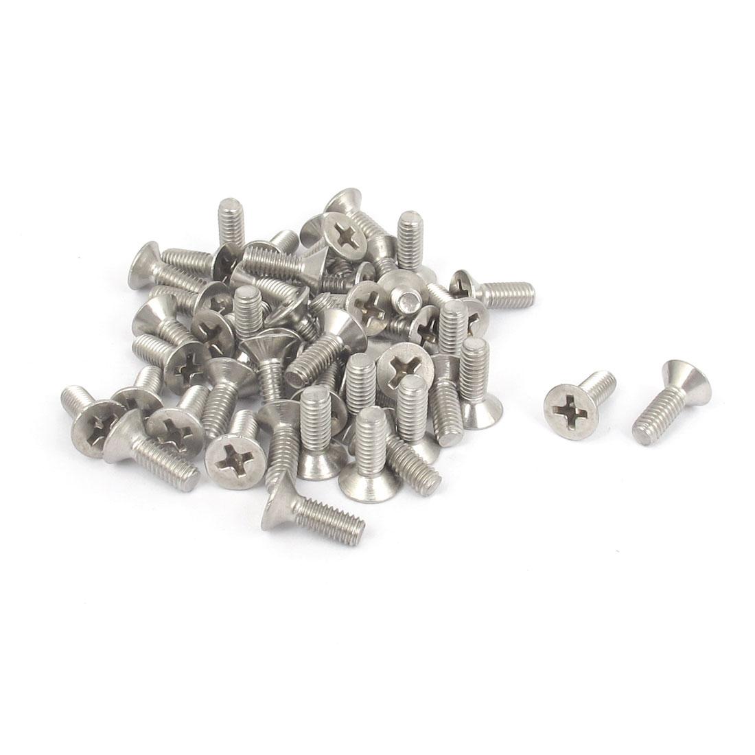 M4 x 12mm Metric Phillips Flat Head Countersunk Bolts Machine Screws 50pcs
