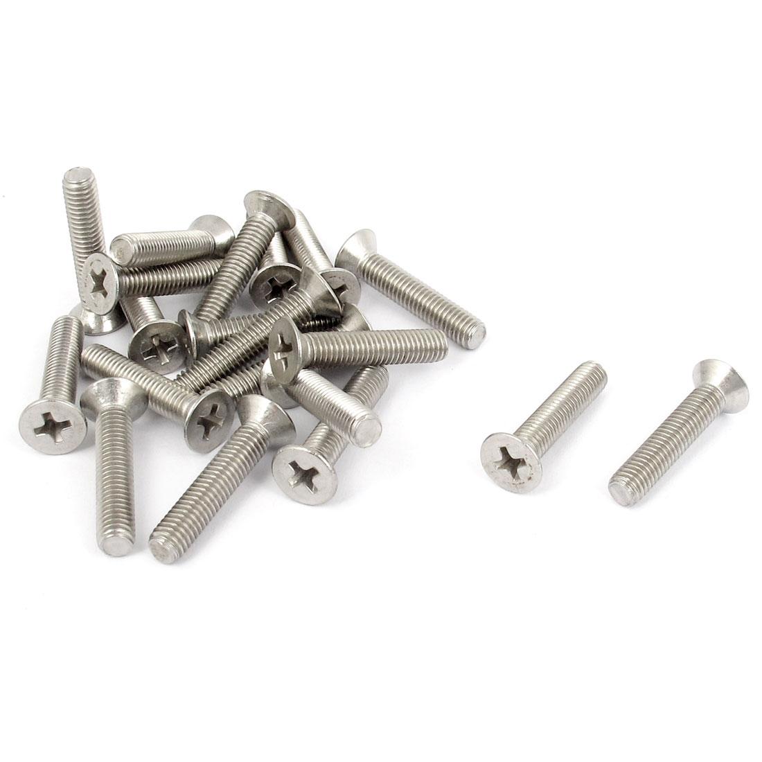 M5 x 25mm Metric Phillips Flat Head Countersunk Bolts Machine Screws 20pcs