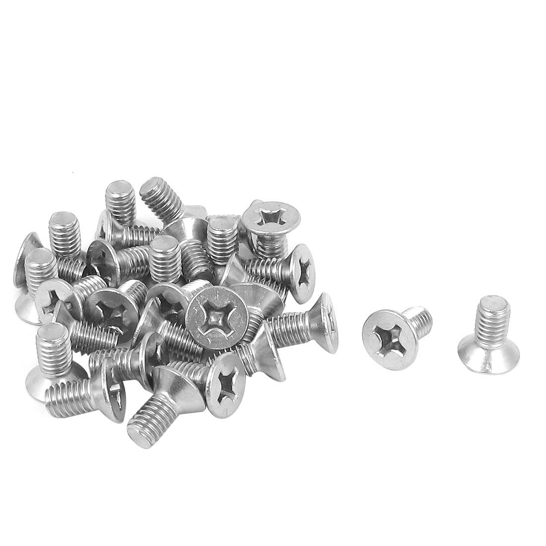M6 x 12mm Metric Phillips Flat Head Countersunk Bolts Machine Screws 30pcs