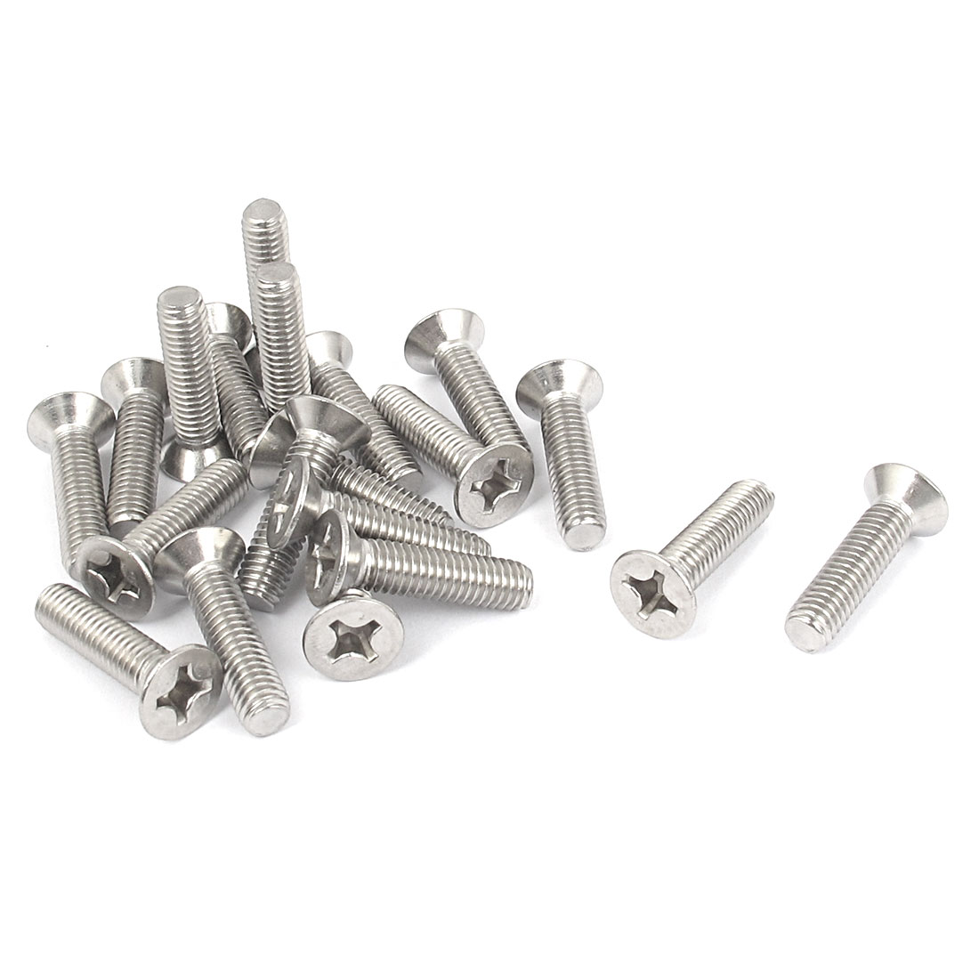 M6 x 25mm Metric Phillips Flat Head Countersunk Bolts Machine Screws 20pcs