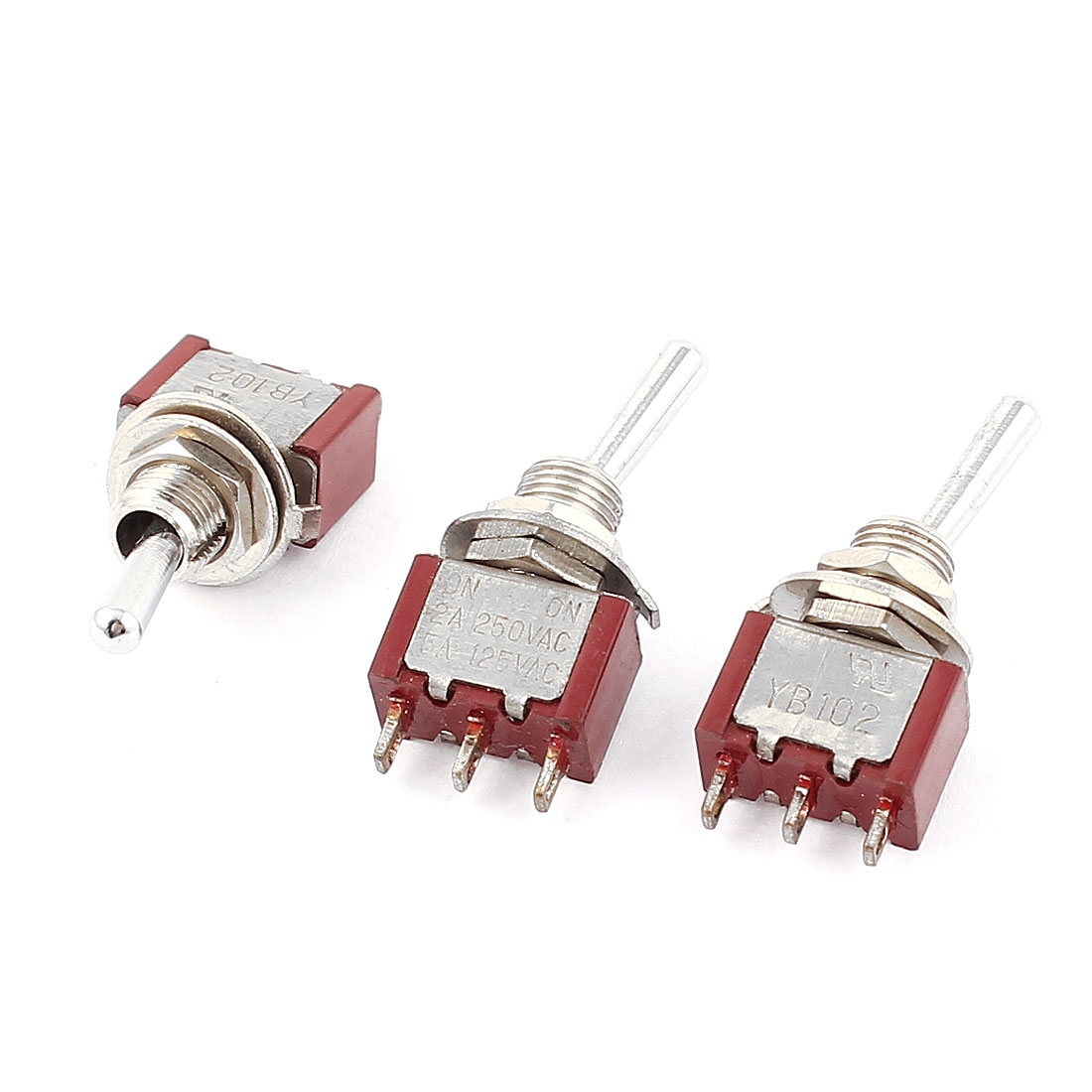 3pcs SPDT On/On 2 Position Miniature Toggle Switch AC 250V 2A/125V 5A